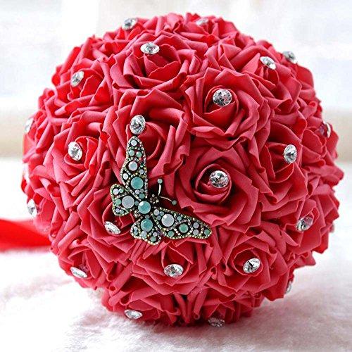 Holding-Blume, Kristallspitze-Rosen-Brautjunfer-Hochzeits-Blumenstrauß-Brautsynthetische Blumen ( Color : Rot )