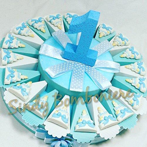 Torta bomboniera 1° Primo Compleanno con oggettino Magnete Torta Baby Bimbo Fiocco Azzurro (Torta da 20 fette)