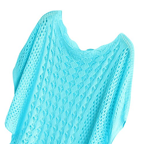 Molly Femmes Tricoter Batwing Manche Courte Chandail Lac Bleu