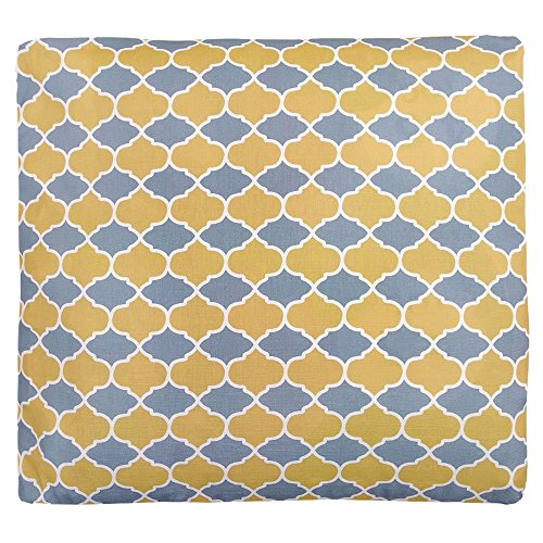 "Designer Luxuriöser Samt Marokkanische rectangluar Polsterhocker Fußhocker-Grau & Senf Badi (begriffsklärung), ""Marrakech"" Kollektion-Entworfen, bedruckt &"
