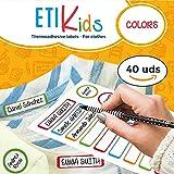 ETIKids 40 Etichette termoadesive (Color), da stirare, in 4 formati diversi per contrassegnare indumenti, vestiti dei bambini a scuola ed asilo.