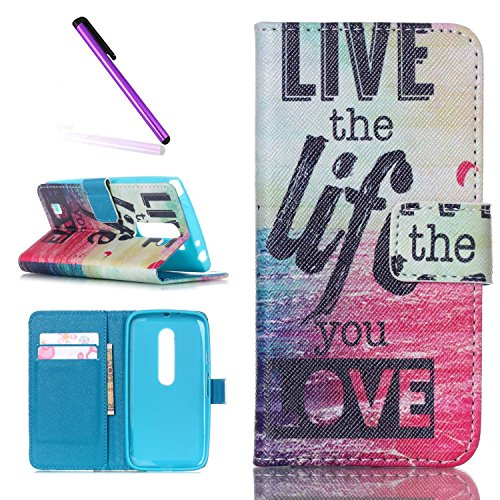 Motorola Moto G3 Hülle,Motorola Moto G3 Case,Moto G3 Cover,Schutzhülle für Motorola Moto G (3rd Gen) Leder Handy Tasche Wallet Case Flip Case Cover Hülle Etui,EMAXELERS Cute Smile Tower Angry Face Muster Schutzhülle Ledertasche Lederhülle Handyhülle Hüllen mit Standfunktion Kunstleder für Motorola Moto G 2015 Version (3rd Gen),Sea & Letter