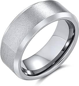 Bling Jewelry Ampio Bordo smussato Lucido Spazzolato Coppie opache Titanio Nero Argento-Tono Anello per Gli Uomini Comfort Fit 8MM