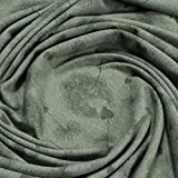 Stoff Baumwolle Polyester Elastan Single Jersey oliv meliert Pusteblume