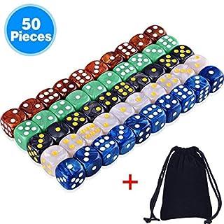 AUSTOR 6-Seitige Würfel Set (mit einem Beutel) 5 Perle Farben 50 Stück Abgerundete Kanten Würfel für Spiel und Lehre Mathe