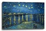 Vincent van Gogh - Sternennacht über die Rhône (1888), 60 x 40 cm (weitere Größen verfügbar), Leinwand auf Keilrahmen gespannt und fertig zum Aufhängen, hochwertiger Kunstdruck aus deutscher Produktion (Alte Meister bis Moderne Kunst). Stil: Impressionismus, Expressionismus