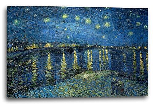 Vincent Van Gogh - Sternennacht über die Rhône (1888), 100x70 cm, Leinwand auf Keilrahmen gespannt und fertig zum Aufhängen, Stilrichtung: Expressionismus