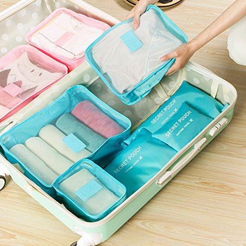 Kleidertaschen,Foxom 6 teilige Kleidertaschen Set Reisetasche in Koffer Wäschebeutel, Schuhtasche, Mini-Beutel. Reise-Organizer für Koffer, Rucksäcke und Weekender(Ming Blau) Blue