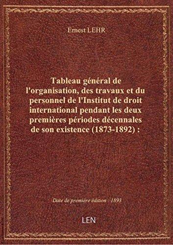 Tableau général del'organisation,destravaux etdu personnel del'Institutdedroitinternational par Ernest LEHR