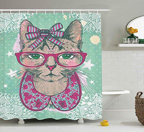 SRJ2018 Katze Dekor Duschvorhang Mode Katze in Hipster Brille und Spitze Kragen Bogen Vintage Humor Grafik Stoff Badezimmer Dekor Set mitMintgrün