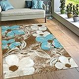 Paco Home Designer Teppich Wohnzimmer Modernes Blumen Muster Braun Creme Türkis, Grösse:200x280 cm