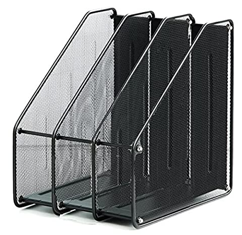 Desk Mesh Collection Heavy Duty Stacking Sorter Magazine File Holder Desktop Book Storage Container Vertical Section Organizer A4 Black