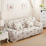Sofa für 3-Sitzer-Sofa Schonbezug Stretch Elastic Pet Dog Polyester-Couch Displayschutzfolie-Soft Couch Cover Floral Print Bettüberwurf, white rose, 3-Sitzer