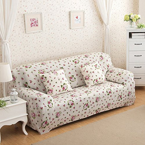Sofa für 3-Sitzer-Sofa Schonbezug Stretch Elastic Pet Dog Polyester-Couch Displayschutzfolie-Soft Couch Cover Floral Print Bettüberwurf, white rose, 3-Sitzer -