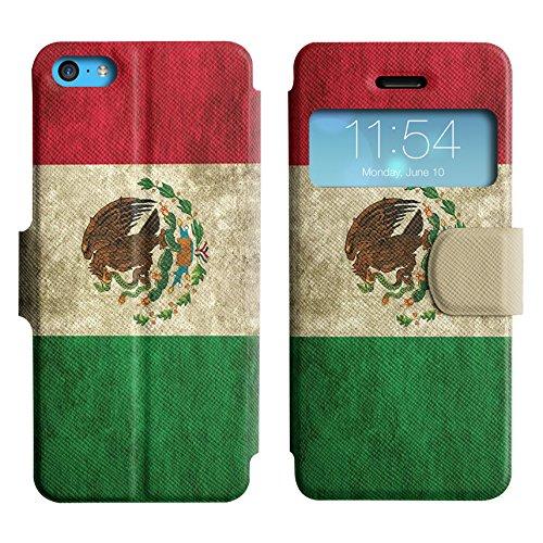 Graphic4You Vintage Uralt Flagge Von Mexiko Mexikanisch Design Leder Schützende Display-Klappe Brieftasche Hülle Case Tasche Schutzhülle für Apple iPhone 5C Mexiko Mexikanisch