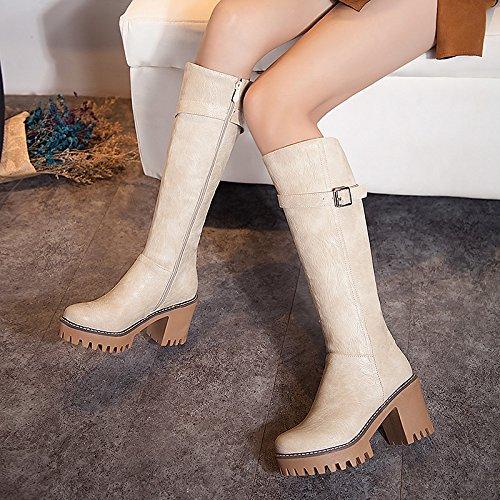 Mee Shoes Damen chunky heels Plateau runde langschaft Stiefel Beige