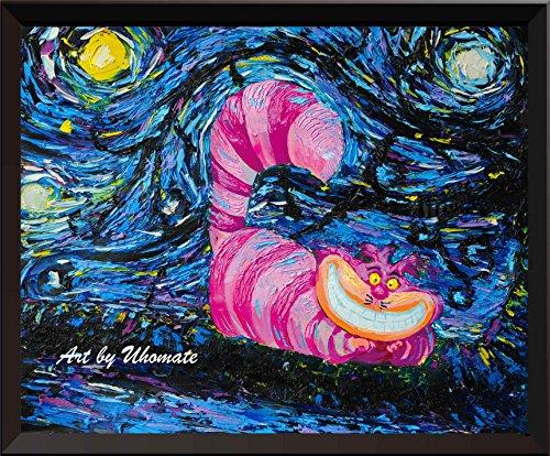(uhomate Alice im Wunderland Grinsekatze Alice Wonderland Vincent van Gogh Starry Night Poster Home auf Leinwand, Jahrestag Geschenke Baby Kinderzimmer Decor Wohnzimmer Wanddekoration A009, 8x10 inch)