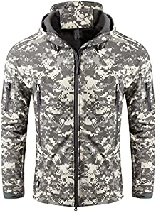 TACVASEN Military Waterproof Men's Softshell Jacket Fleece Lining Camouflage Outdoor Coat by TACVASEN-EU
