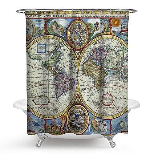 Z9CTH® World Map Series Baño de Cortina de Ducha de Moho Impermeable con Estampado de poliéster Impreso