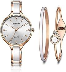 MAMONA Damen Uhr Set Analog Quarz mit Edelstahl und Keramik Armband Rose Gold L3877RGGT