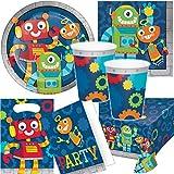 Reegen/Carpeta 101-tlg. Party-Set * LUSTIGE Roboter * für den Kindergeburtstag | mit Teller + Becher + Servietten + u.v.m. | Kinder Motto Geburtstag Technik Deko