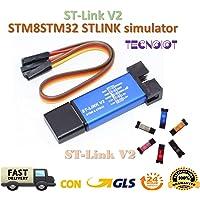 TECNOIOT St-Link V2 Mini STM8 STM32 STLINK Simulator Download Programming | Unité de Programmation St-Link V2 Metal Mini Shell STM8 Emulator STM32 téléchargeur