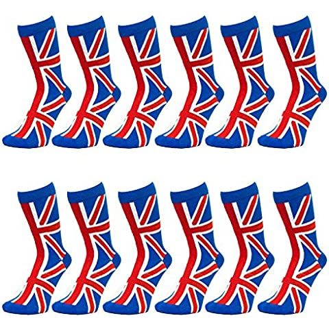 Ladies Union Jack Ankle Socks - Red-White-Blue (Blue Top) (12 (Cotone Rich Dress Calzini)