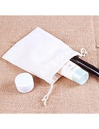 White, 10x15cm : White Cotton Gift Pouch 10x15cm 13x16cm 20x24cm 24x30cm Pack Of 24 Pure Pigment Pocket Handmade...