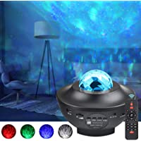 LED Projector Lights - Ocean Wave Star Sky Night Light with Music Speaker,Sound Sensor,Remote Control,360°Rotating Sleep Soothing Color Changing Lamp for Stage Bedroom Wedding Christmas