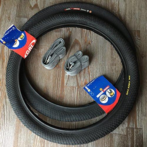 2x GRL Reifen BMX 20 Zoll Reifen + AV Schläuche Puncture Defence Freestyle Fahrrad Reifen Mantel 1mm Pannenschutz 20x2.00 | 50-406 Autoschrader