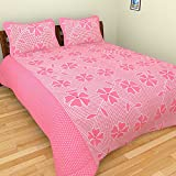 Bhavy Double Cotton Bed Sheet Set with 2...