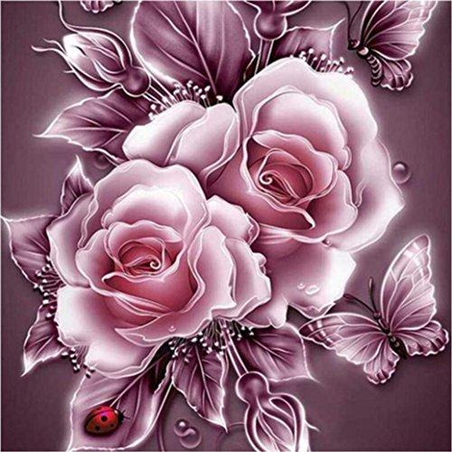 Gemini Mall® Rose Butterfly 5D Diamant Malen nach Zahlen Kristall Stickerei Full-Bohrer Kreuzstich DIY Gemälde Art Craft Home Wall Decor 25cm x 25cm a