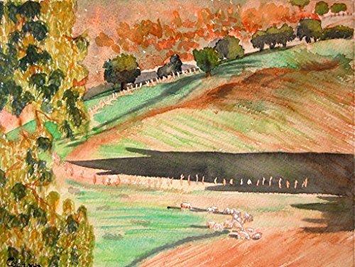 Weiden Landschaftsbild. Aquarell Landschaft. Aquarell auf Papier.30x40 cm. Einzelarbeit. Aquarell mit Bäumen. Rahmen grün und braun Farben.