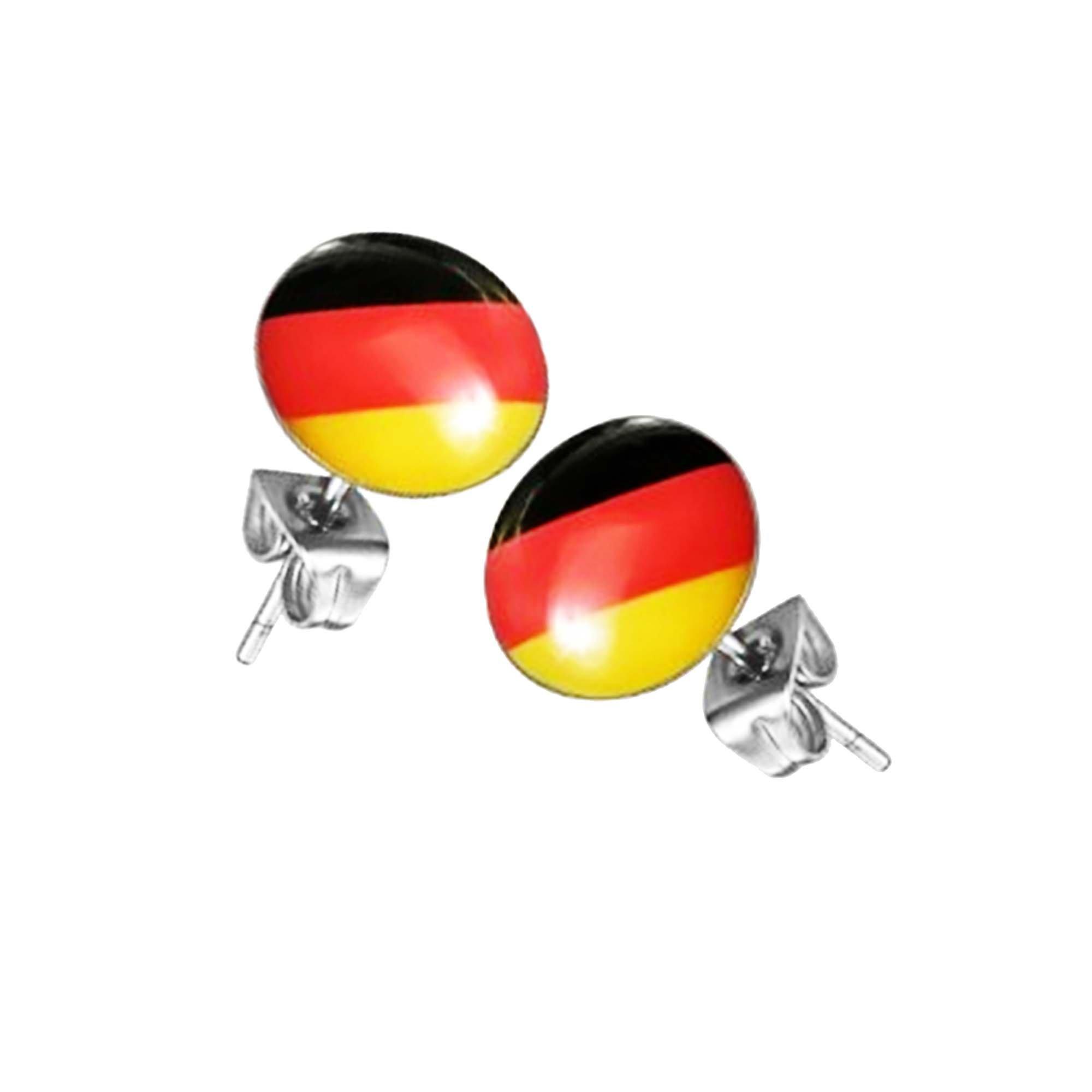 Taffstyle� 1 paio di orecchini per fan del calcio Campionato Mondiale 2014 WC e EC Germania - nero r