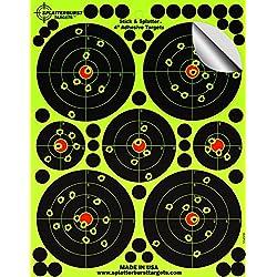 """Paquet de 25 - 10,2 cm """"Stick & Splatter"""" Adhésif Splatterburst Objectifs de tir - Les coups jaunes fluorescents brillants sont faciles à voir - Excellente pour toutes les armes à feu, fusils, pistolets, fusils à air et Airsoft."""
