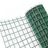 HENGMEI 25m Gartenzaun Maschendraht Zaun Grün 100cm höhe, PVC-beschichtet Grün Gitterzaun Maschung 7,5 x 10 cm Geschweißtes Zaungeflecht(1.0*25m)