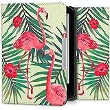 kwmobile Hülle für Tolino Vision 1 / 2 / 3 / 4 HD - Flipcover Case eReader Schutzhülle - Bookstyle Klapphülle Flamingo Palmen Design Rosa Grün Hellgrün