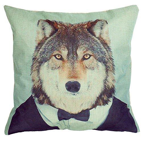 Luxbon Funda de Cojín Almohada Lino Duradero Señor Animal Lobo Decoración para Sofá Cama Coche 18x18