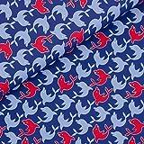 Sehr schöner Baumwollstoff Golfinhos mit blauen und roten