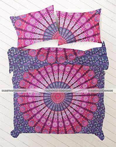 Rajasthani Handmade Pfau Mandala 100% Baumwolle Bettbezug Indian Boho Doona Bezug Betten Decke Cover Set Tröster Bettbezug King Size Tröster Quilt Sets (Tröster Set Boho)
