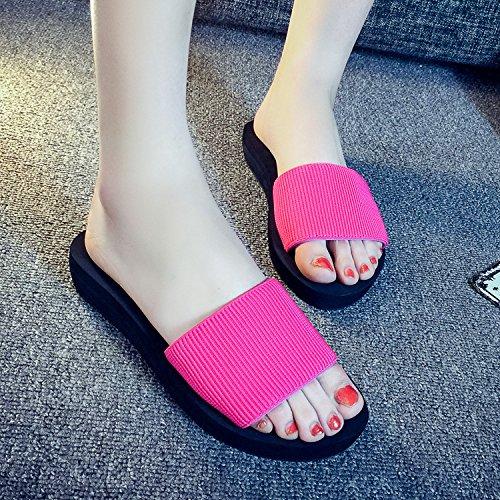 ant-slip da donna estate sandali casual pantofole casa bagno pantofole, Rose red, UK5 Rose red
