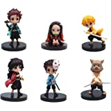 CYSJ 6 Pcs Demon Slayer Cake Toppers Mini Figures Set Anime Characters Cake Decorations Action Figures Toys Model Doll Collec