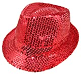 Das Kostümland Glitzernder Popstar Hut mit Pailletten - Rot - Partyhut Zum Show, Disco und Faschingskostüm