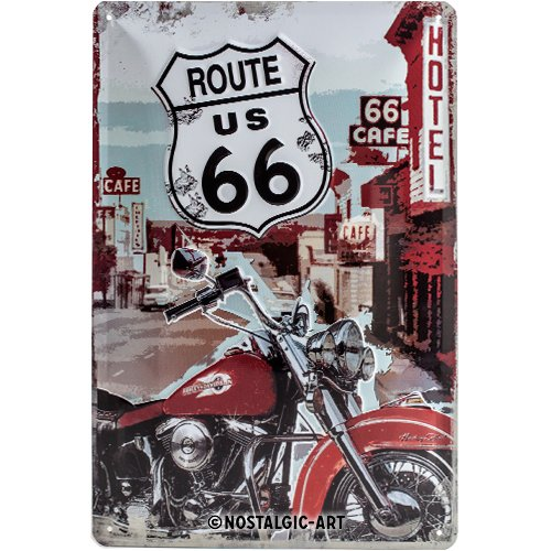 Nostalgic-Art 22164 US Highways - Route 66 Lone Rider, Blechschild 20x30 cm (66 Route Der Metall-schilder)