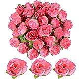 JNCH 50 Stücke Künstliche Blütenköpfe Blumen Köpfe Rosenköpfe Rosen Kopf Kunstblumen Seide Klein deko für Hochzeit Feste Partei Haus DIY Basteln