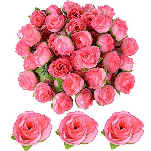 50 Stücke Künstliche Blütenköpfe Blumen Köpfe Rosenköpfe Rosen Kopf Kunstblumen Seide Klein deko für Hochzeit Feste Partei Haus DIY Basteln