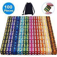 SIQUK 100 Piezas Conjunto de Dados de 6 Caras con Bolsas Gratuitas para Aprendizaje de Matemáticas, Casino, Juegos, 10 Colores
