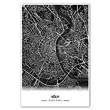 Zulumaps Poster 60x90cm Stadtplan Köln (Schwarz) - Hochwertiger Kunstdruck