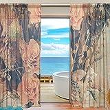 yibaihe Fenster Sheer Vorhänge Panels Voile Drapes Tüll Vorhänge Schöne Einrichtung schön Blumenstrauß Blume 139,7cm W x 198,1cm L 2Einsätze für Wohnzimmer Schlafzimmer Girl 's Room, Textil, multi, 55