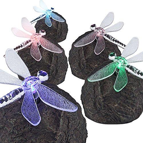 5er Set Außen Leuchten LED Solar Lampen Tier Figuren Steine Libelle Farbwechsler